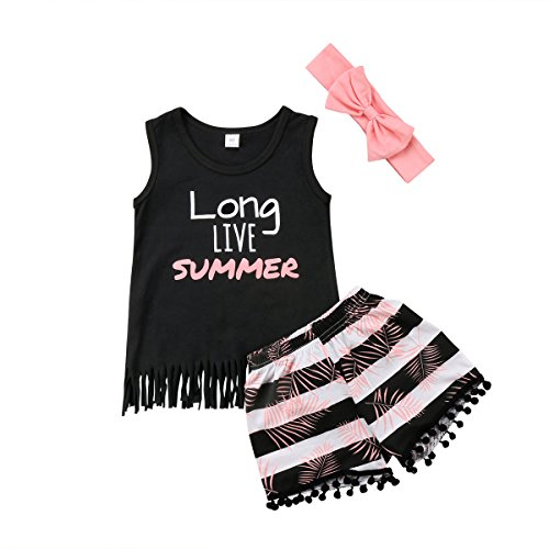 Toddler Kid Baby Girls Halter Floral Top Dress Lace Ruffled T-Shirt Shorts Pants Summer Outfits 1-6Y (4-5Y, Black+Pink)