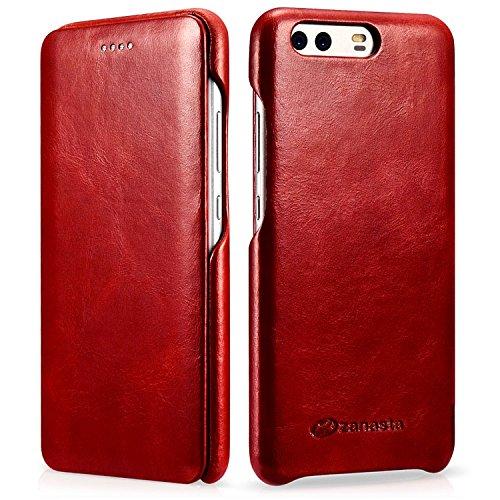 zanasta Ledertasche kompatibel mit Huawei P10 Plus Premium Flip Hülle Echt Leder Tasche mit Klappverschluss Glattleder Oberfläche | Curved Vintage Rot