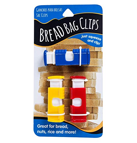 Jacent Squeeze Bread Bag Cinch Clips, Assorted Colors, 3 Count Per Pack - 1 Pack