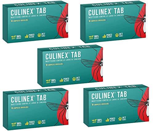 COPYR Culinex Tab Plus (5 Scatole) Larvicida Antizanzare da Esterno, Disinfestanti per Tombini, Stagni da Giardino, Raccoglitori d'Acqua, 10 Pasticche