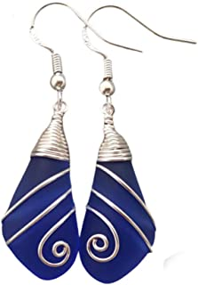 product image for Handmade in Hawaii, Swirles wire wrapped cobalt blue sea glass earrings, gift box,beach glass earrings,sea glass jewelry, beach glass jewelry