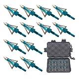 Jocoo 12PK 3 Blades Hunting Broadheads 100 Grain Screw-in Arrow Heads Arrow Tips Compatible with...