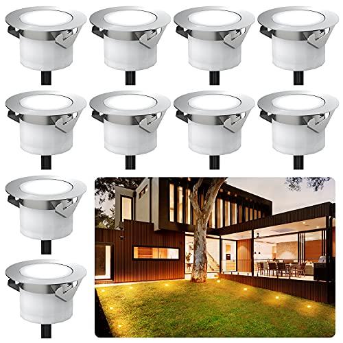 Chesbung 10er Set Led Bodeneinbauleuchten Aussen DC12V, Ø33mm, IP67 Wasserdicht Terrassenbeleuchtung für Küche Garten Treppen Holzdeck Decke- Warmes Weiß