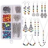 SUNNYCLUE DIY Make 6 Pairs Reiki Earrings & 2 Sets Chakra Healing Energy Balancing Necklace Chakra Beads para la Fabricación de Joyas