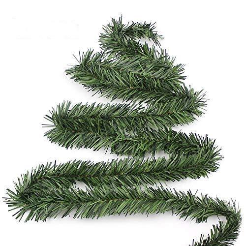 Ghirlanda Di Natale Artificiale Verde, 5.5M Festone Ghirlanda Natalizia Ghirlanda Di Pino Corona Di Natale Casa Giardino Decorazione Per Albero, Interni E Esterno Ornamento