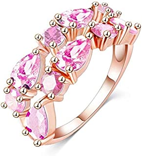 خاتم نسائي مطلي بالذهب ومزين بتقنية الوردي مقاس 7 أمريكي مطلي بالذهب مقاس 7