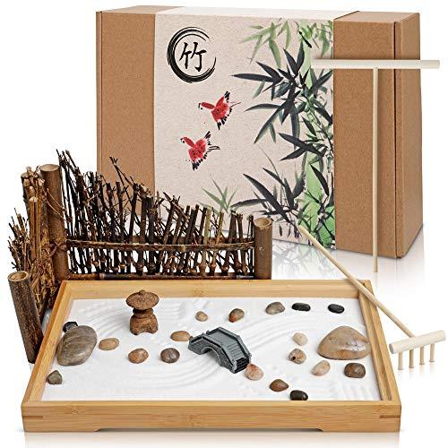 Japanese Zen Garden for Desk - 11x7.5 Inches Large - Bamboo Tray, White Sand, River Rocks, Pebbles, Rake Tools Set - Office Table Accessories, Mini Zen Sand Garden Kit - Meditation Gifts