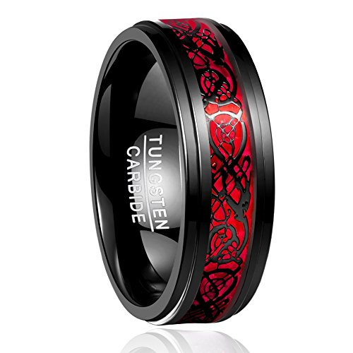 NUNCAD Men's 8mm Celtic Dragon Tungsten Carbide Ring Black & Red Wedding Band Size W½