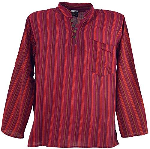 GURU SHOP Nepal Fischerhemd, Gestreiftes Goa Hippie Hemd, Yogahemd, Herren, Rot, Baumwolle, Size:44, Hemden Alternative Bekleidung