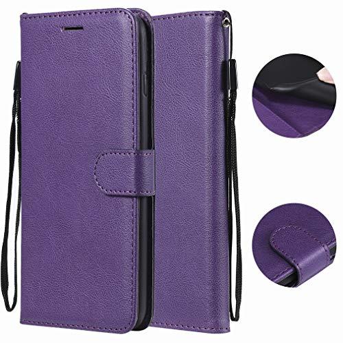 Laybomo für Motorola Moto G6 / Moto 1S Ledertasche Schuzhülle Weiches TPU Silikon Flip Cover Magnetisch Brieftasche Schale Handyhülle für Moto G6 mit Kartensteckplatz, Geschäft (Violett)