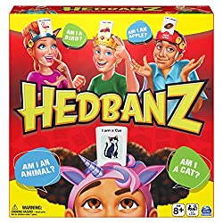 Exciting new headband choices: 6 fun choices including a cat, crown, unicorn headbands and more! New cards and illustrations: Cards feature a brand-new art style and new items Fun fast-paced game: On your turn, flip over the timer and start asking ye...