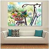 Mmdianpu Abstrakte Leinwand Malerei Blumen Mit Fahrrad Wandbilder Wandkunst Für Wohnzimmer Leinwand Kunst Wohnkultur Moderne Malerei (60x120 cm kein Rahmen)