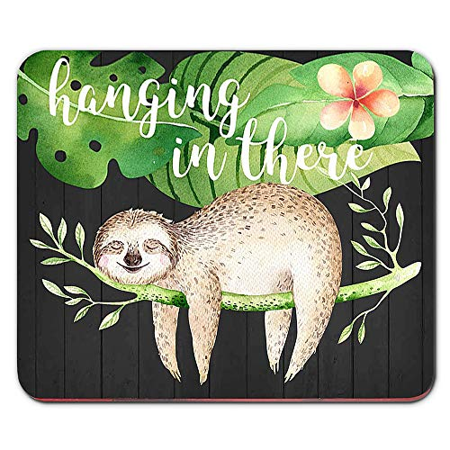 Funny Sloth Mouse Pad Hanging in There Floral Watercolor Quote Mousepad Desk Accessories for Women Office Supplies