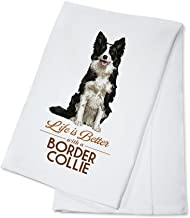 Border Collie - Life is Better - White Background (100% Cotton Kitchen Towel)