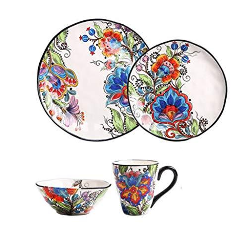ZLDGYG Estilo Europeo Set de Cubiertos Floral Plato de Cena de cerámica Plato de Porcelana Placa de Postre Platos de Frutas Juego de Herramientas de vajilla