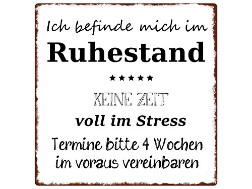 Interluxe 20x20cm METALLSCHILD Türschild ICH BEFINDE Mich IM Ruhestand Geschenk Rentner