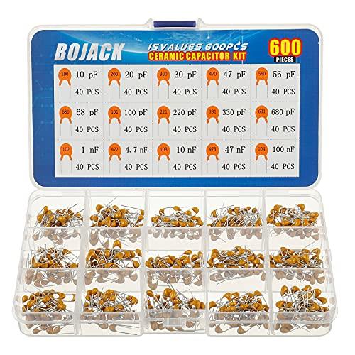 BOJACK - Kit da 600 condensatori elettrici in ceramica, assortiti, di 15 tipi, da 10pf a 100nF, custodia inclusa