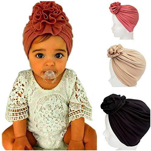 3 Gorritos turbante para bebe niña Gorro HECHO A MANO (Rosa, Beige, Negro)
