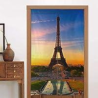 エッフェル塔ドアカーテンパーティションスクリーンパネルとパリの日本ののれんタペストリー日の出カスタムタペストリーリネン戸口カーテン家の装飾