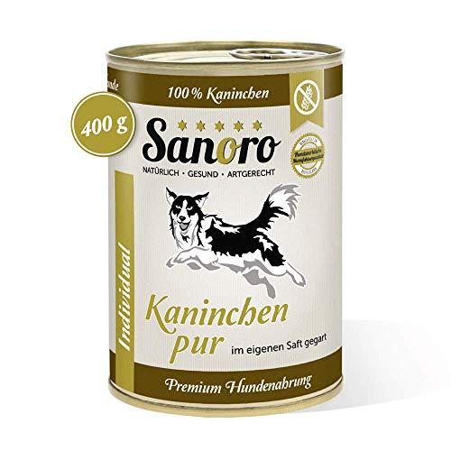 Sanoro Kaninchen pur, 100% Kaninchenfleisch, salzfrei - Premium-Hundefutter - singleprotein - für Ausschlußdiäten geeignet (12 x 400 g).