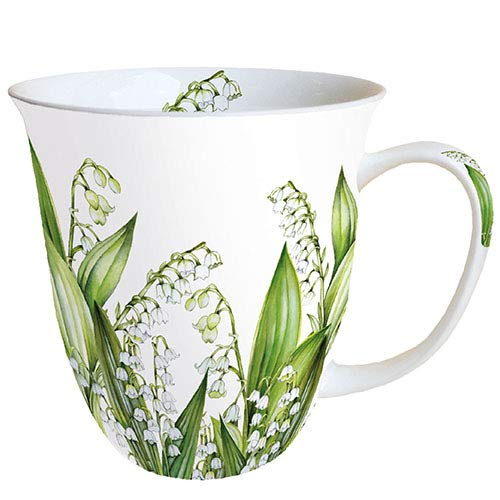 Ambiente Becher Mug Tasse Tee / Kaffee Becher ca. 0,4L Floral Lily Of The Valley Maiglöckchen Sweet Lily