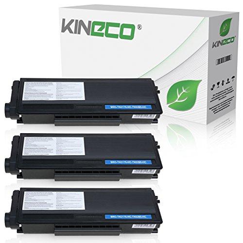 Kineco 3 Toner kompatibel für Brother TN-3280, TN3280 für Brother HL5340D, HL-5350DN, HL5370WD, HL5380DN, 8085DN. 8880DN, 8890DW, MFC-8370DN - Schwarz je 8.000 Seiten