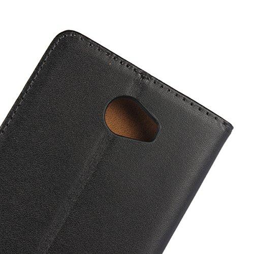 Copmob Huawei Y6 II Compact Hülle, Huawei Y6 II Compact HandyHülle, [Premium Leder] [Standfunktion] [Kartenfach] [Magnetverschluss] Schlanke Leder Brieftasche - Schwarz - 3