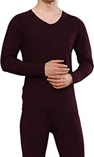 Thermal Underwear Set Men Base Layer Tops + Bottom Long John Quick Dry Winter (Color : Wine Red, Size : Large)