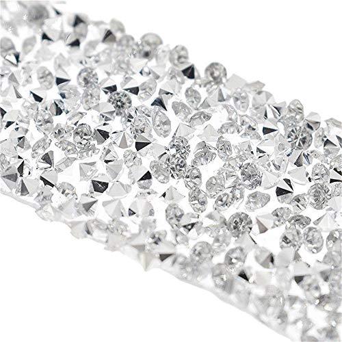 EORTA 1Yard X 3CM Rhinestone Beaded Trim Sparkling Crystal Rhinestone Hotfix Ribbon Iron on Applique Bling Chain Banding Belt for DIY Wedding Bridal Dress Embellishment Phone Wall Decor, Silver