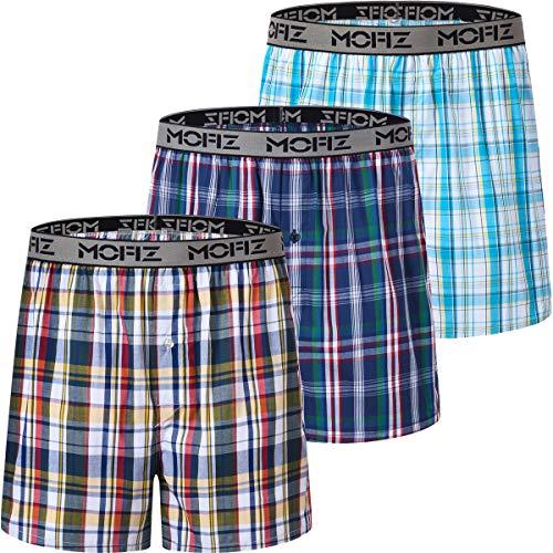 JINSHI Herren Boxershorts Unterwäsche Boxer Baumwolle Plaid Unterwäsche Knopfleiste Schlafshorts 3er-Pack - Schwarz - Large