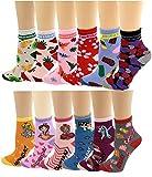 12 Pairs Pack Kids Girls Colorful Creative Fun Novelty Design Crew Socks (6-8,...