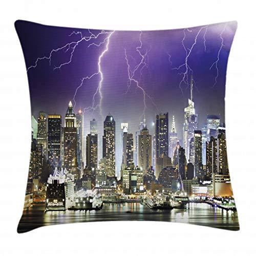 ABAKUHAUS Ciudad Funda para Almohada, La Tempestad De Truenos En Nueva York, con Estampas Digitales Personalizadas Lavable, 40 x 40 cm, Indigo Lila Gris Carbón