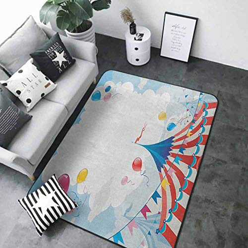 "Floor Mat for Toilet Non Slip Circus,Circus Day Canvas Tents Stratus Cloudy Summer Entertainment Festive Season Theme, Multicolor 48""x 60"" Best Floor mats"