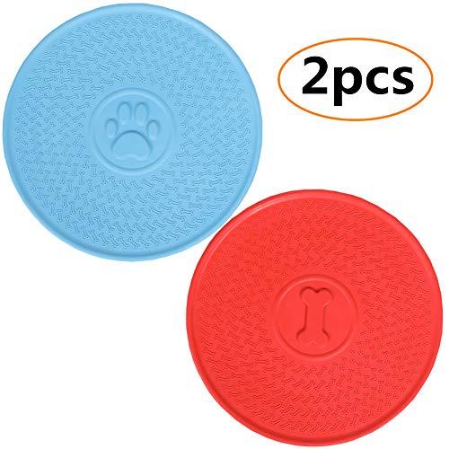 Juguete básico para perro, juguete volador para perro, juguete de disco volador para perro, paquete de 2 (rojo + azul) 23 cm