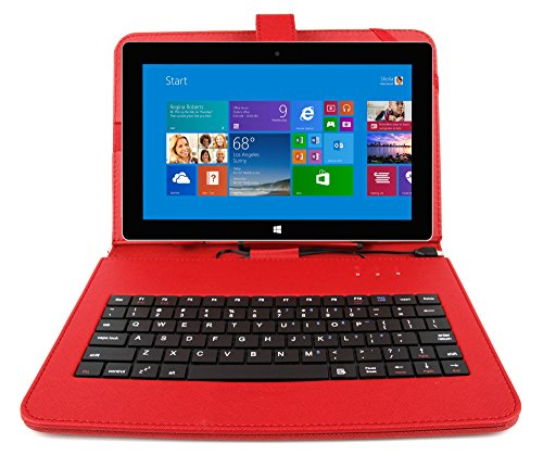 DURAGADGET Red PU Leather Keyboard Case/Cover – Compatible with Microsoft Surface RT / Pro 1 & Surface 2 / Pro 2 (Windows 8 RT, 32GB, 64GB, 128GB, 256GB Tablet) - with Built-In QWERTY Keyboard, Stylus & Stand