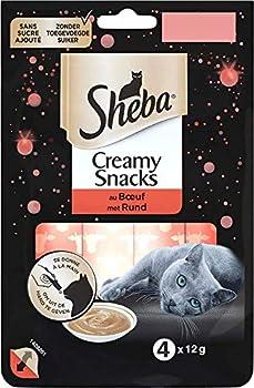 Sheba Creamy Snacks pour chat adulte – Friandise crémeuse - au bœuf – 20 x 4 x 12g sachets snack gourmand pour chats