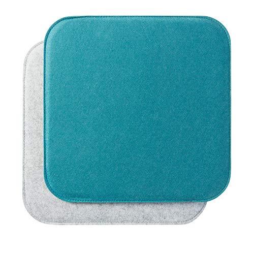luxdag Sitzkissen aus Filz mit Schaumstoffkern zweifarbig 2er Set quadratisch Aqua-hellgrau (Form & Farbe wählbar) Stuhlkissen für Stühle, Bänke, Hocker
