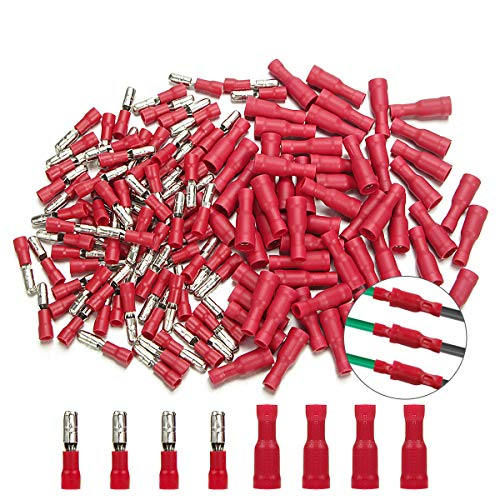 Bullet Butt Connectors, Sibaok 200pcs 22-16 AWG Assorted Insulated Female & Male Bullet Butt Wire Crimp Connector Terminals Assortment Kit, Red