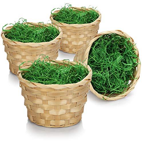 com-four® 4X Canastas de Pascua con Hierba Decorativa - Canastas de Pascua Hechas de bambú con Hierba Verde - Canasta Bast con Hierba de Pascua (08 Piezas - Canasta de bambú + Hierba)
