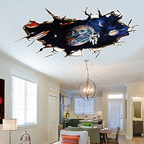 U-Shark 3D Self-Adhesive Removable Break Through The Wall Vinyl Wall Sticker/Mural Art Decals Decorator (9066A Galaxy Astronaut (23.6' X 35.4'/ 60cm x 90cm))