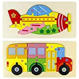 Jouet Enfant 3D Puzzles en Bois Jouet Montessori Enfant 3-6 Ans Avion Autobus Jeux Educatif Apprentissage à Encastrements pour Bébé Puzzle à Encastrements Cadeau d'anniversaire
