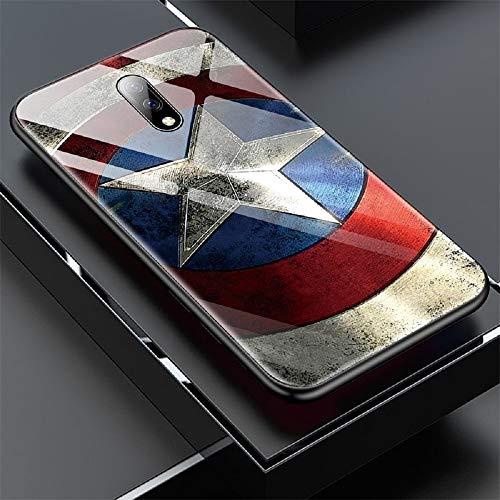 FutureLife Store Marvel Iron Man Captain America Glass Phone Case for Oneplus 5 5T 6 6T 7 7Pro Avengers Batman Captain Marvel Cover Coque Funda