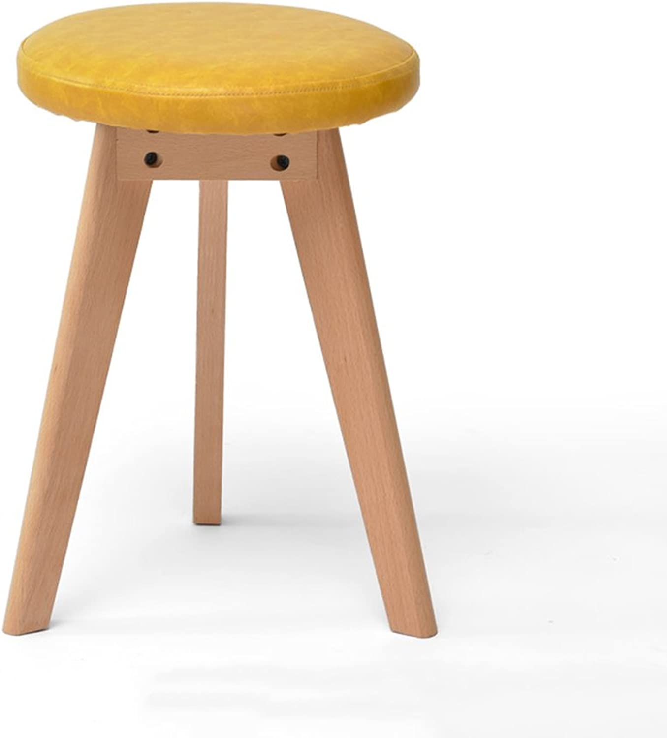 ZHIRONG Solid Wood Stool Creative Triangle Make-up Stool Round Dining Table Stool 31  31  46CM (color   Yellow)
