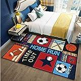 Tapis de jeu antidérapant pour chambre d'enfant, motif football, basket-ball, rugby, rectangulaire 60 x 90 cm