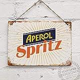 Aperol Spritz Vintage Cocktail Prosecco - Placa decorativa para pared (19,8 x 30 cm)