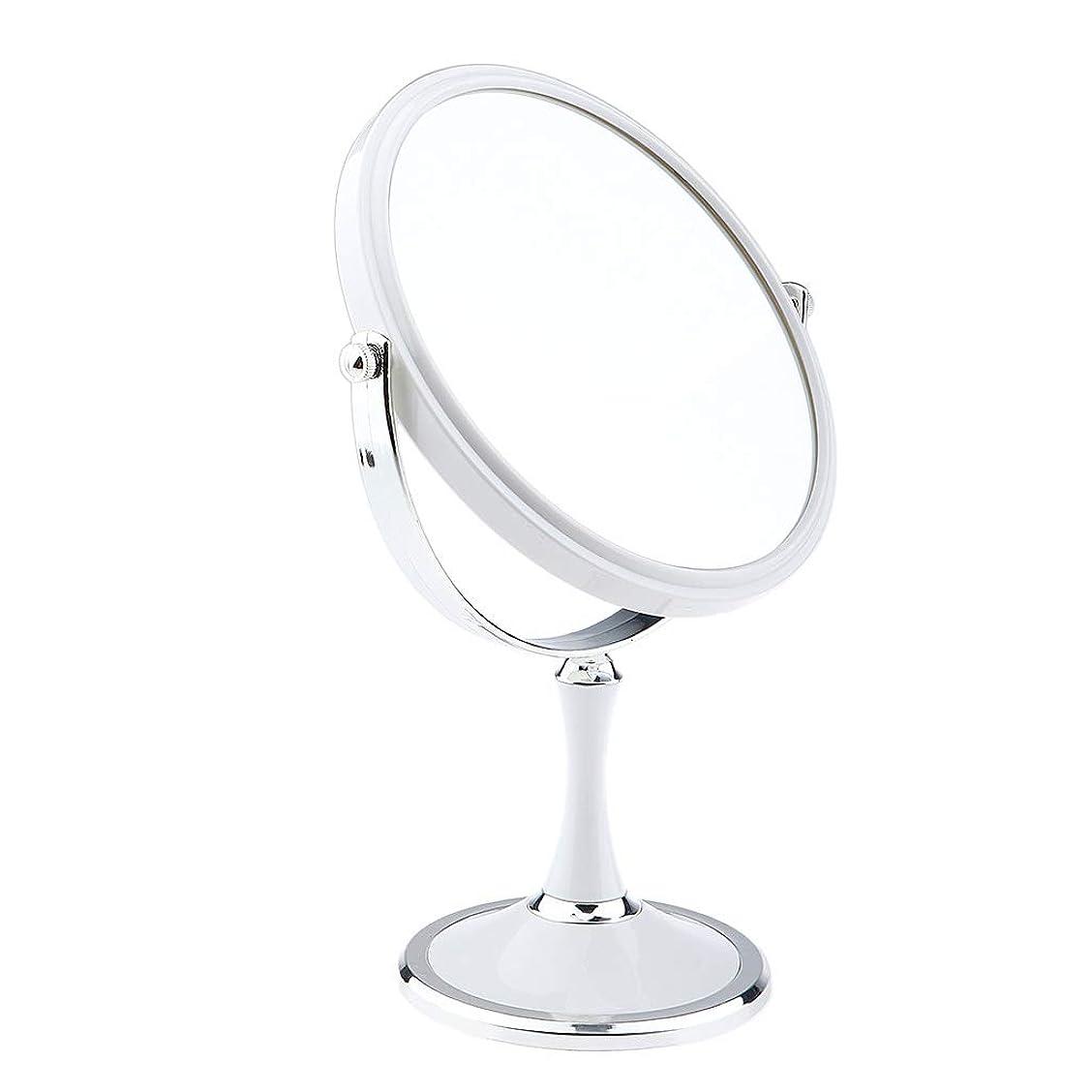 シリングファイター証書B Blesiya メイクアップミラー デュアルサイド 化粧鏡 1X / 3X 拡大鏡 ラウンド 卓上鏡 2色選べ - 白