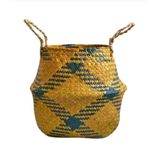SZETOSY, cesto in vimini naturale, con manico, portaoggetti, per giocattoli, biancheria, piante, Style#7, 32CMx28CM