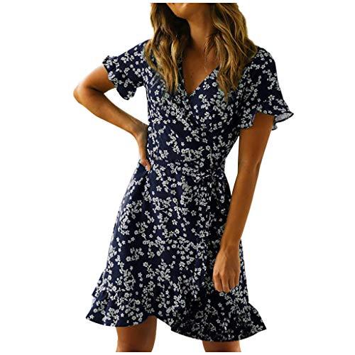 Fcostume Laternenhülse Sommer Minikleid Damen,Reizvolle Frauen Strandkleid Abendkleid Kurzarm Tief V-Ausschnitt Partykleid Blumenmuster Hochzeitskleid Freizeitkleidung
