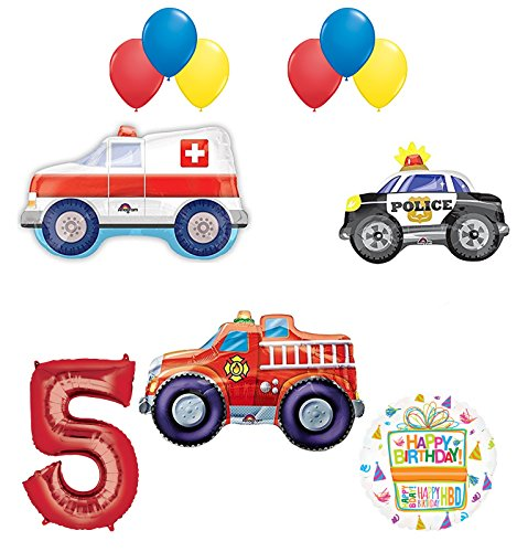 Mayflower Products Team Rescue 5th Birthday Party Supplies and First Responders Balloon Bouquet Decorations