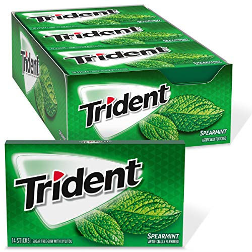 Trident Spearmint Sugar Free Gum, 12 Packs of 14 Pieces (168 Total Pieces) by Mondelez International